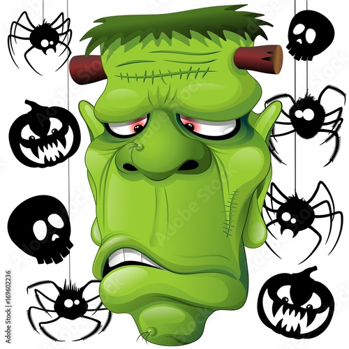 Deurstickers Draw Frankenstein Spiders Skulls and Pumpkins