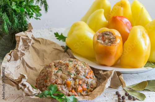 Fresh peppers and minced meat for cooking  Home cooking