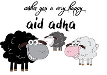 Illustration Of Brown, Black And White Sheep As A Comic For Eid Adha