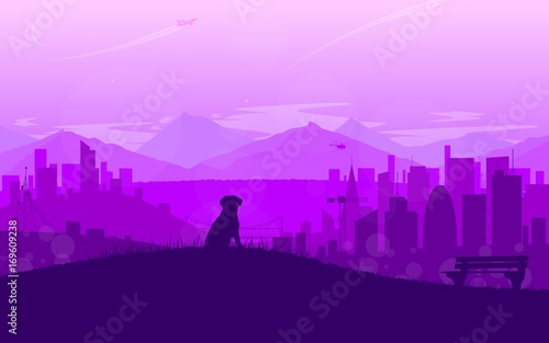 Flat landscape of city in sunset with siting dog. Vector beckground.