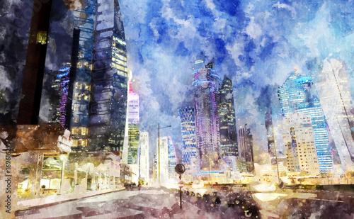 Akwarela malarstwo Doha, Katar.