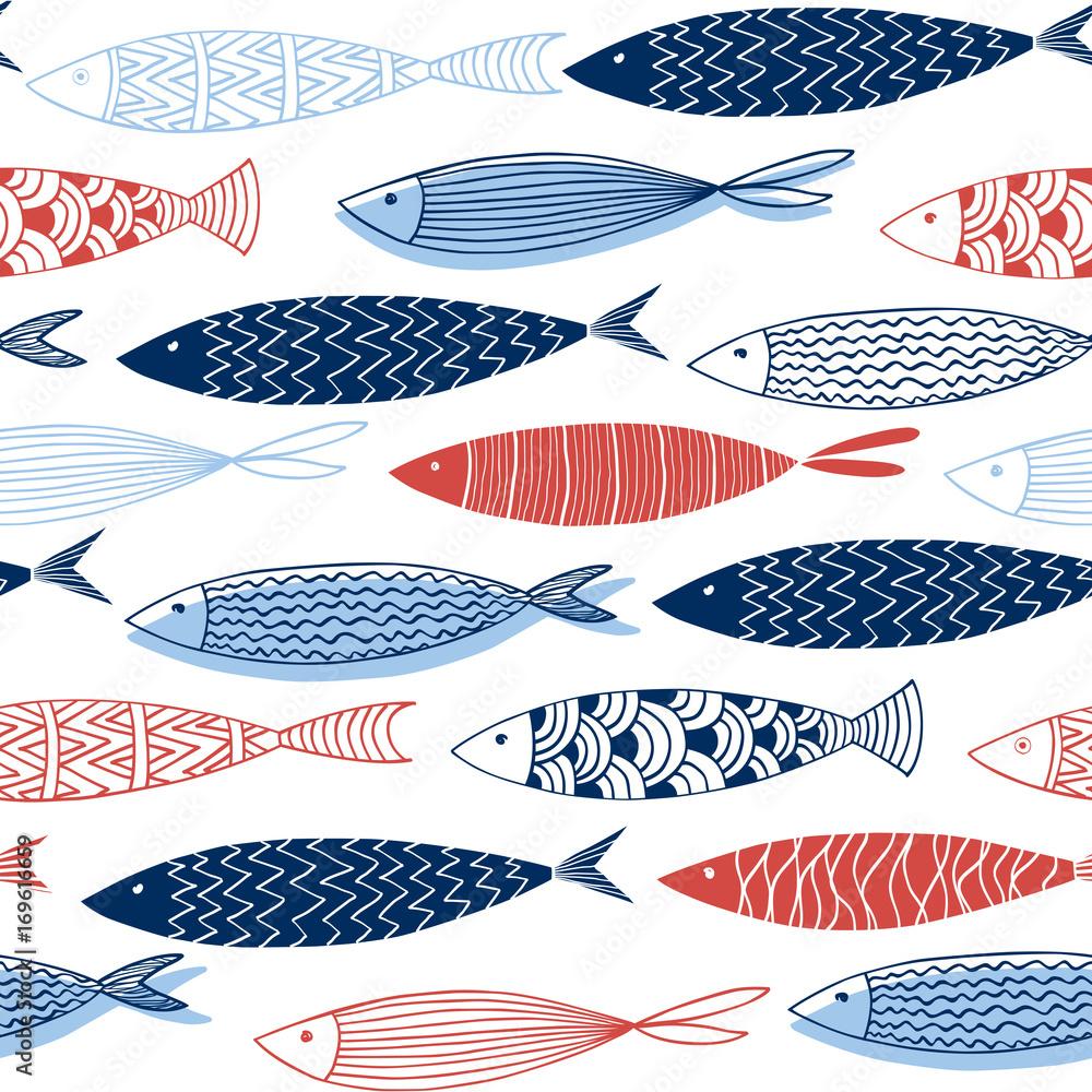 Fototapeta Seamless pattern from decorative fish