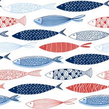 Seamless Pattern From Decorative Fish