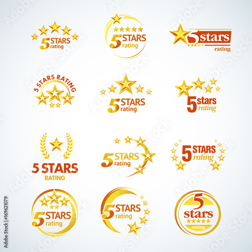 Golden Five stars round logo template set  Isolated Vector