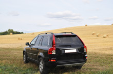 Sunday Went With Family To The Countryside. Our Black Car Is Very Looked At The Background Of The Field.