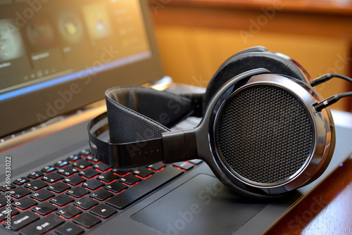 Photo Audiophile Headphones with Laptop PC computer