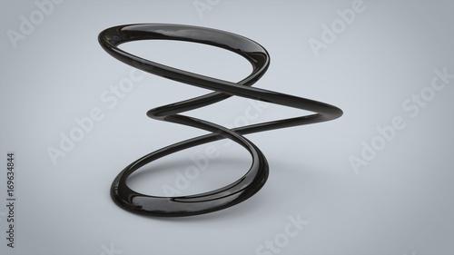 Foto  Abstract black metal wave shape sculpture