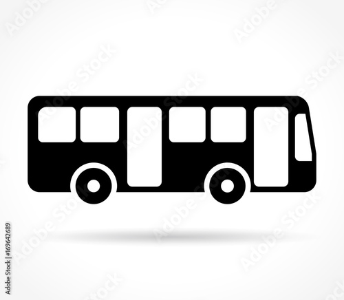 bus icon on white background Canvas Print