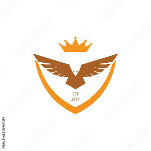 Golden Eagle King Of Bird With Crown Logo Symbol Template Buy This