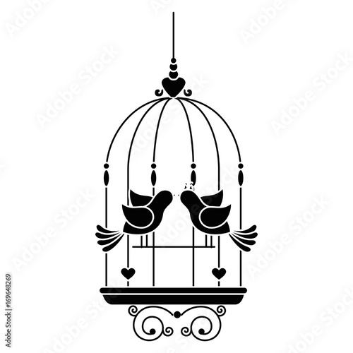 Fotografia  birdcage with cute doves icon over white background vector illustration