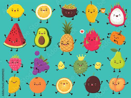 Fotografie, Obraz  Vintage food poster design with vector lemon, passion fruit, mango, dragon fruit, avocado, pineapple, pumpkin, cherry, grapes, durian, pear, orange, peach character