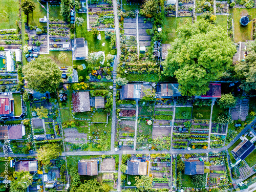 Aerial view of allotment in Switzerland Wallpaper Mural