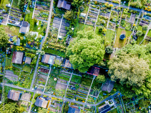 Photo Aerial view of allotment in Switzerland