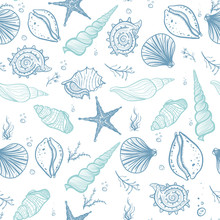 Seashells Seamless Pattern. Ha...
