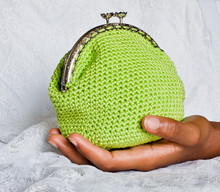 Handmade Crochet Purse With Cotton Thread In Yellow Color