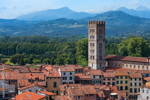 Fototapety, obrazy: Aerial view of the small medieval town of Lucca, Toscana (Tuscany), Italy, Europe. View from the Guinigi tower