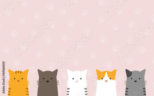 Obraz na plátně  cute flat pastel cat portrait with cat's paws pattern background