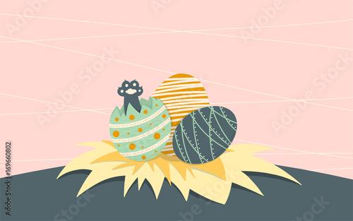 Obraz na plátně  cat paw in easter egg, simple flat cartoon, kitten vector, illustration art, bac
