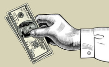 Hand Of Man Holding 100 Dollars Bank Notes