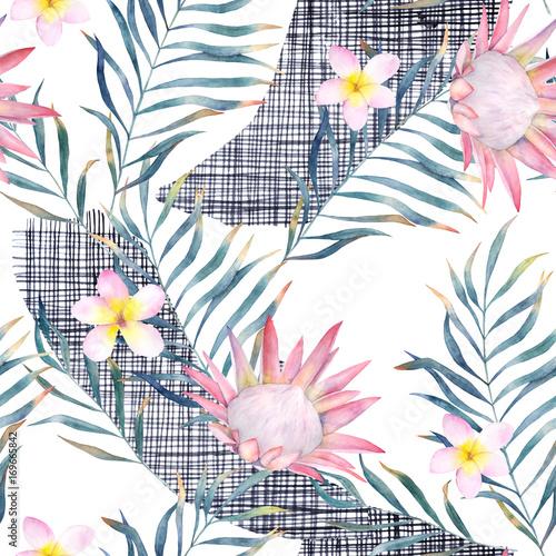 Akwarela egzotyczny wzór, zielone liście tropikalne, protea i plumeria. Botaniczna lato ilustracja na białym tle