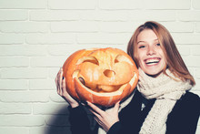 Halloween Woman With Happy Face.