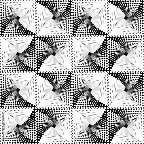 Geometric Seamless Op Art Pattern Of Monochrome Square Dots Vector