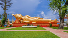 A Reclining Buddha Statue At Wat Pha That Luang Lacated In Vientiane, Loas