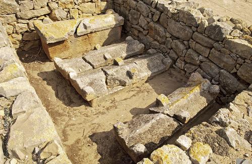 Fotografía  Yacimiento arqueológico griego y romano en el mediterráneo restos de una antigua