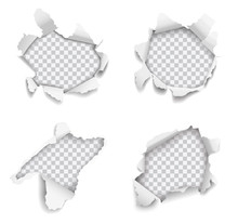 Set Of Vector Realistic Holes Torn In Paper On White Background