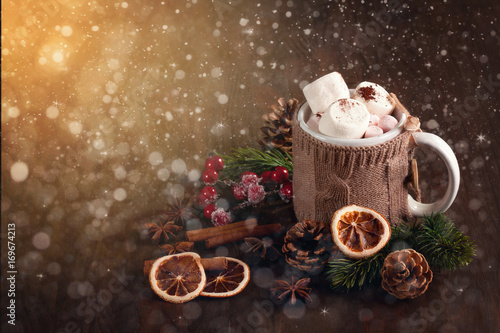 Spoed Foto op Canvas Chocolade Hot chocolate drink with marshmallows for cold weather. Christmas and new year celebration concept with copy space