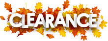 Autumn Clearance Banner With Leaves.