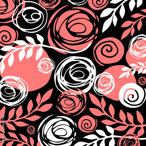 Flower art illustration pattern bloom beauty green. Background and texture.