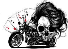 Teschio Con Motocicletta