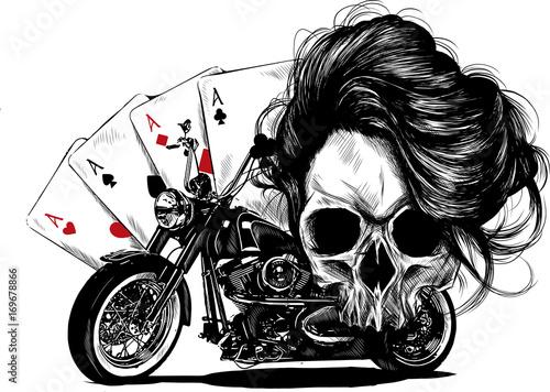 Foto teschio con motocicletta