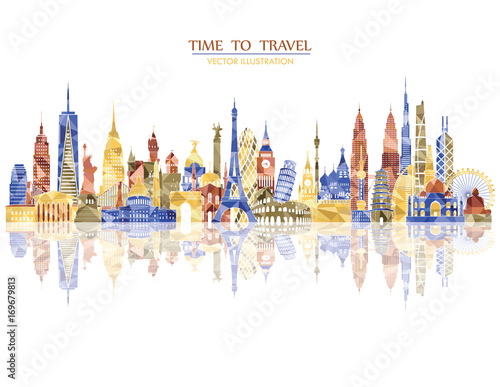 Photo  Travel and tourism background. Vector illustration