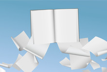 Vector Blank Book With White P...