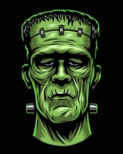 Color Illustration Of Frankenstein Head. Isolated On Black Background. Halloween Theme