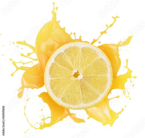 lemon with juice splash isolated on a white background
