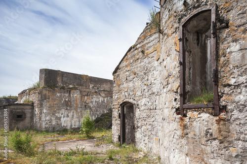 Deurstickers Rudnes Empty windows of abandoned concrete bunker