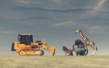 A Yellow Bulldozer In Front Of Wild Animals