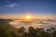 Beautiful sunrise and mist on Mountain landscape background
