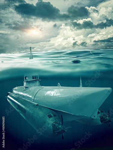 Small submarine supervises the sea - Buy this stock photo and