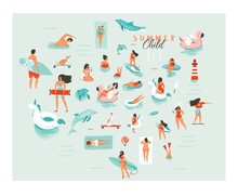 Hand Drawn Vector Abstract Cartoon Summer Time Fun Big Swimming People Group Collection Illustrations Set Isolated On Blue Ocean Waves.