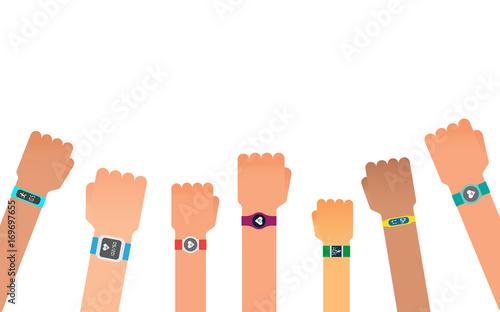 Fotomural Hand bracelet, fitness gadget. Fitness tracker for sports.