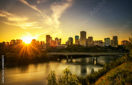 Sunset above Edmonton downtown and the Saskatchewan River, Canada