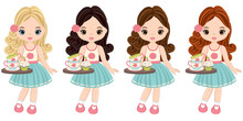 Vector Cute Little Girls With Tea Cups And Cupcakes