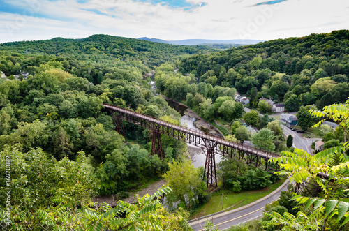 Fotografie, Obraz View of the Rosendale, NY  Train Trestle from the Joppenbergh Mountain