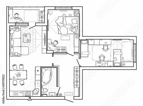 Floor plan with furniture in top view architectural set of floor plan with furniture in top view architectural set of furniture thin line icons malvernweather