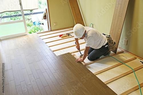 Obraz 床貼り工事 - fototapety do salonu
