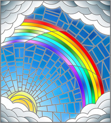 Naklejka Illustration in stained glass style sun ,rainbow and clouds on blue sky background